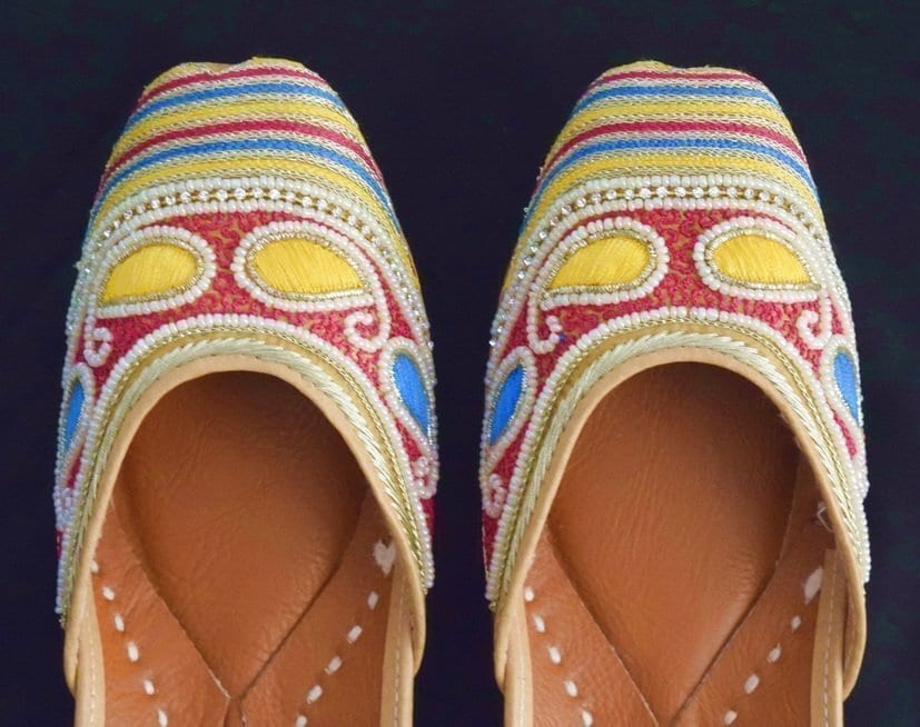 Dabka Work Embroidered hand made Punjabi Jutti Bridal Shoes PJ9791 2