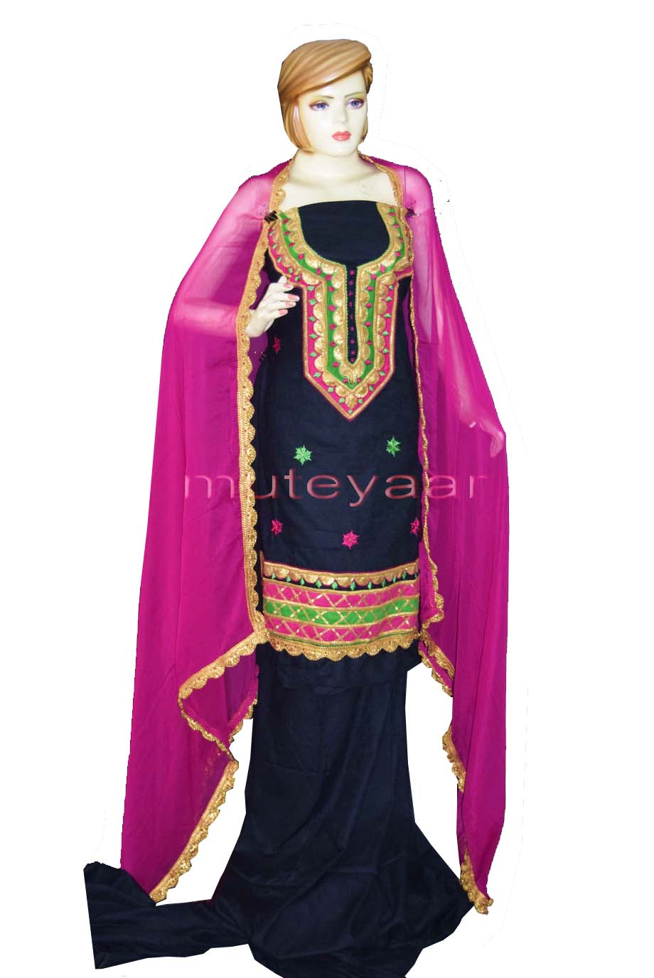 Designer Cotton Salwar Kameez Embroidered Boutique Suit CHIFFON Dupatta RM312 1