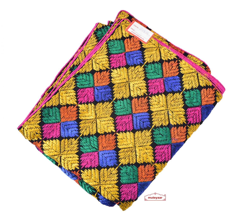 Multicolour Embroidered Phulkari Bagh Dupatta D0913 1