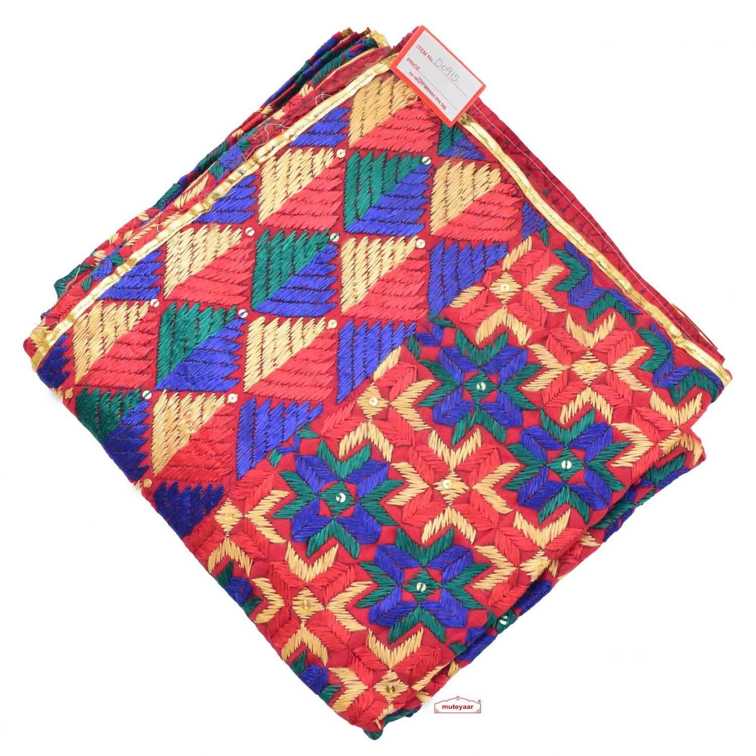Phulkari Bagh Hand Embroidered Cotton Dupatta D0915 1