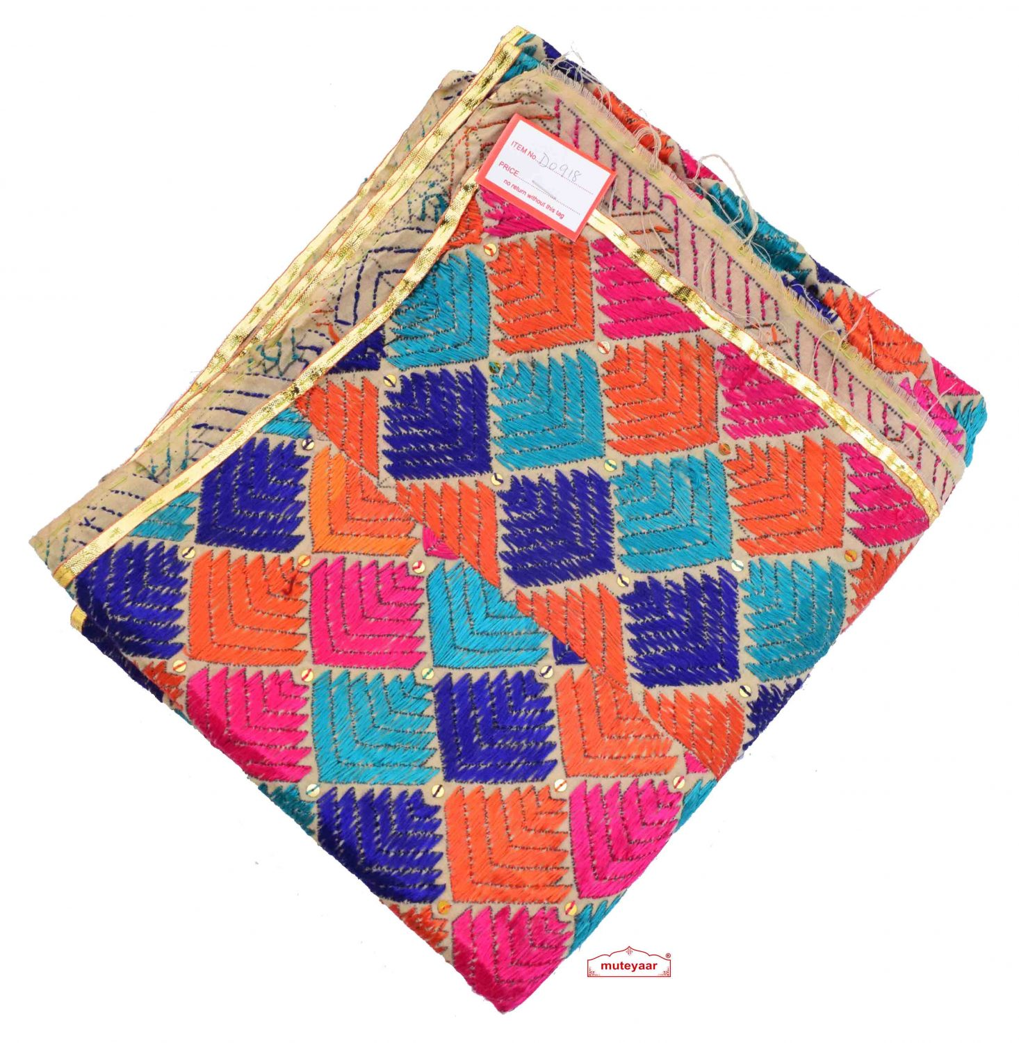 Hand Embroidered Cotton Phulkari Baag Dupatta D0918 1