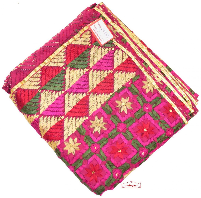 100% Hand Work Phulkari Dupatta Cotton Baagh D0920 1