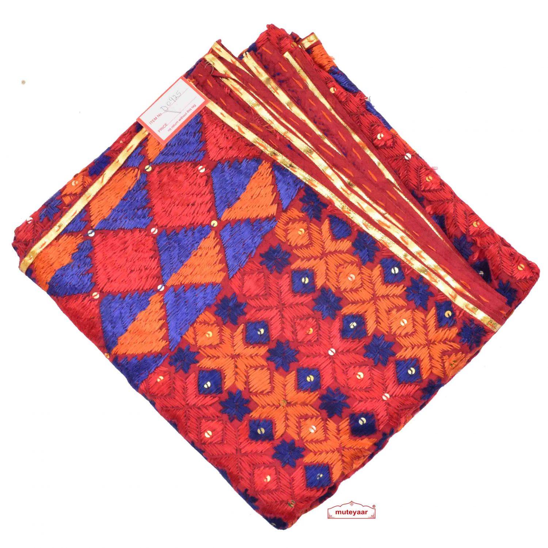 Phulkari Bagh Hand Embroidered Party Wear Cotton Dupatta D0925 1