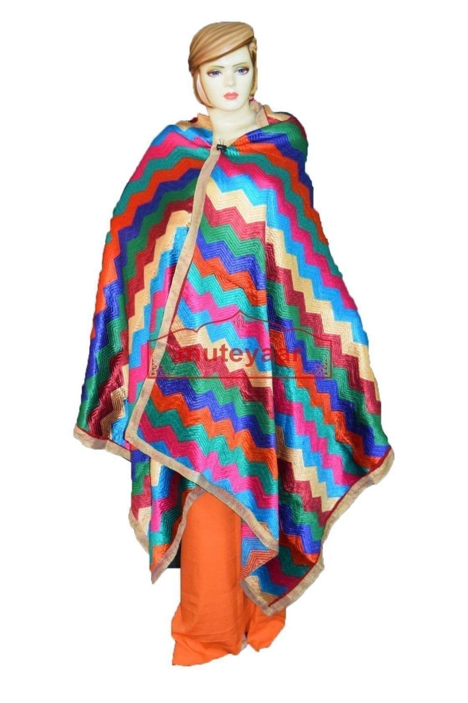 Phulkari Bagh Traditional Khaddar Style Design 100% Embroidery Dupatta D0910 1