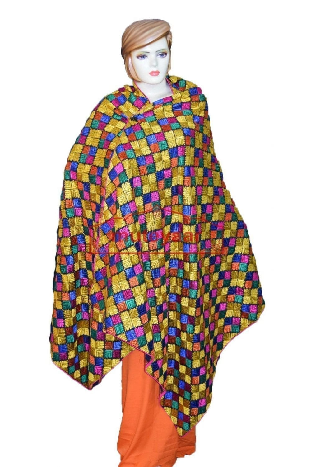 Multicolour M/C Phulkari Bagh Embroidered Party Wear Dupatta D0913 1
