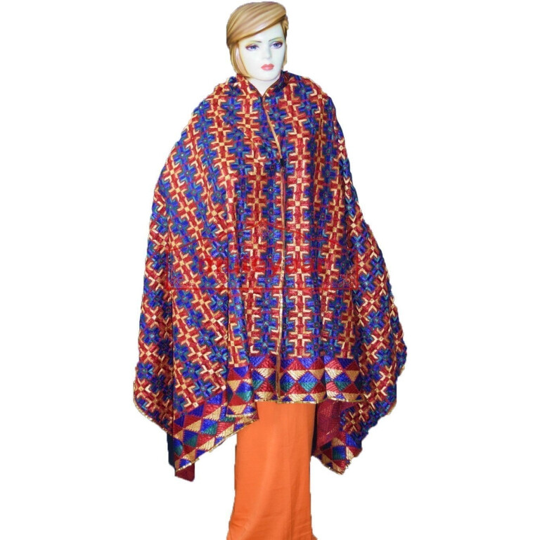 Phulkari Bagh Hand Embroidered Cotton Dupatta D0915 Bagh Hand Embroidered Party Wear Cotton Dupatta D0915