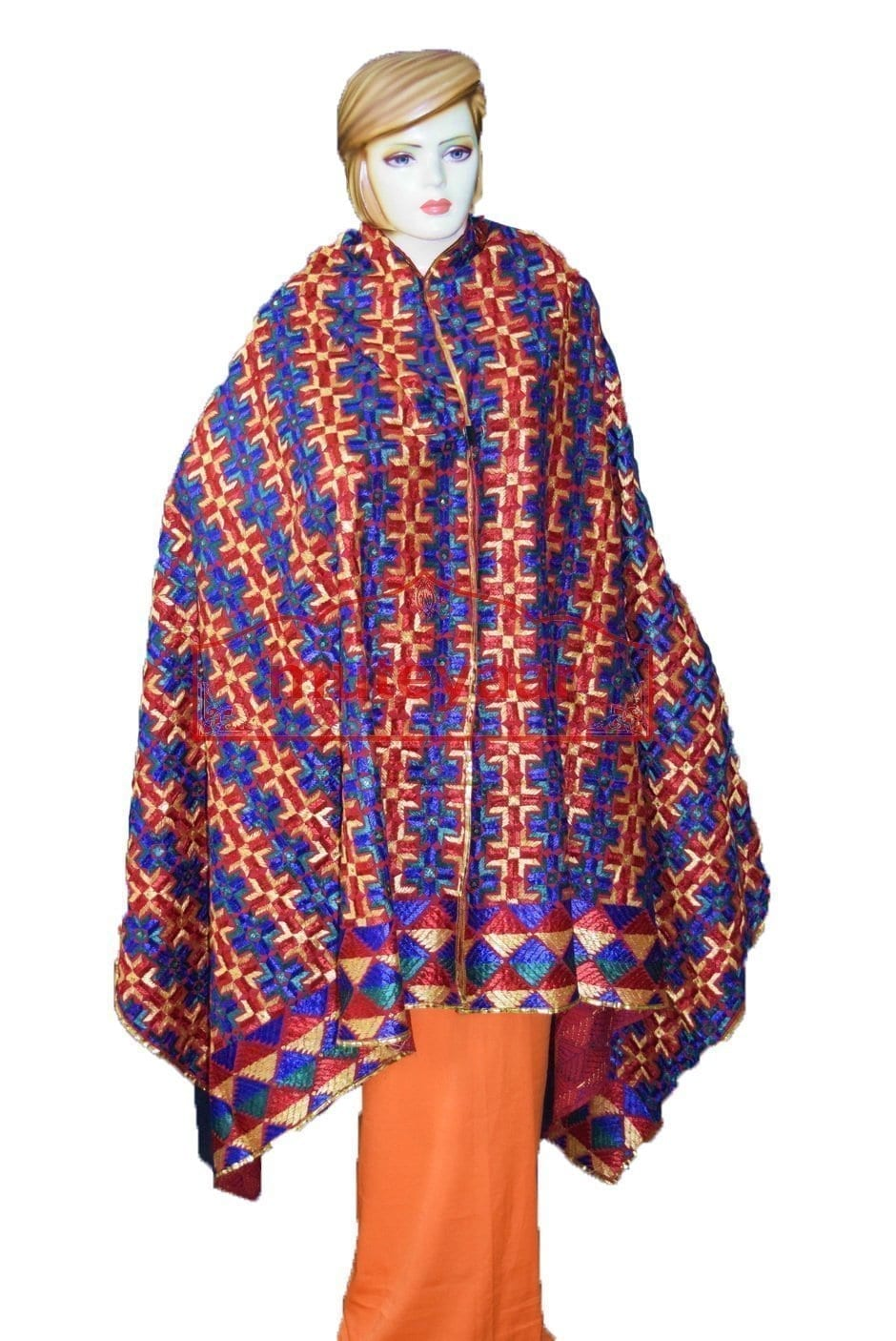 Phulkari Bagh Hand Embroidered Cotton Dupatta D0915 2