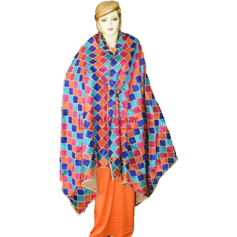 Hand Embroidered Cotton Phulkari Baag Dupatta D0918