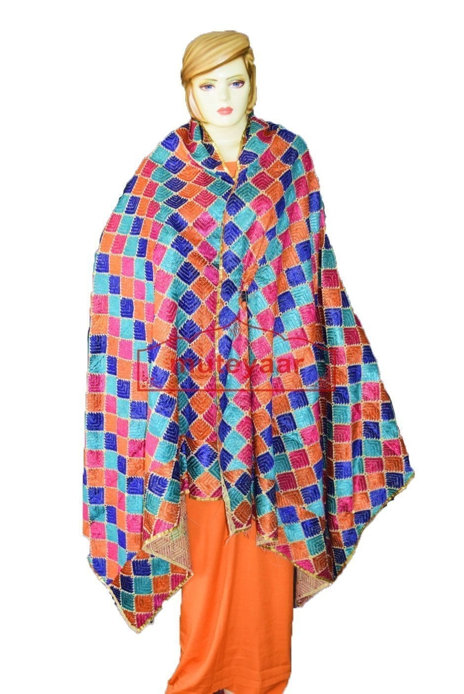 Phulkari Bagh Hand Embroidered Party Wear Cotton Dupatta D0918 1