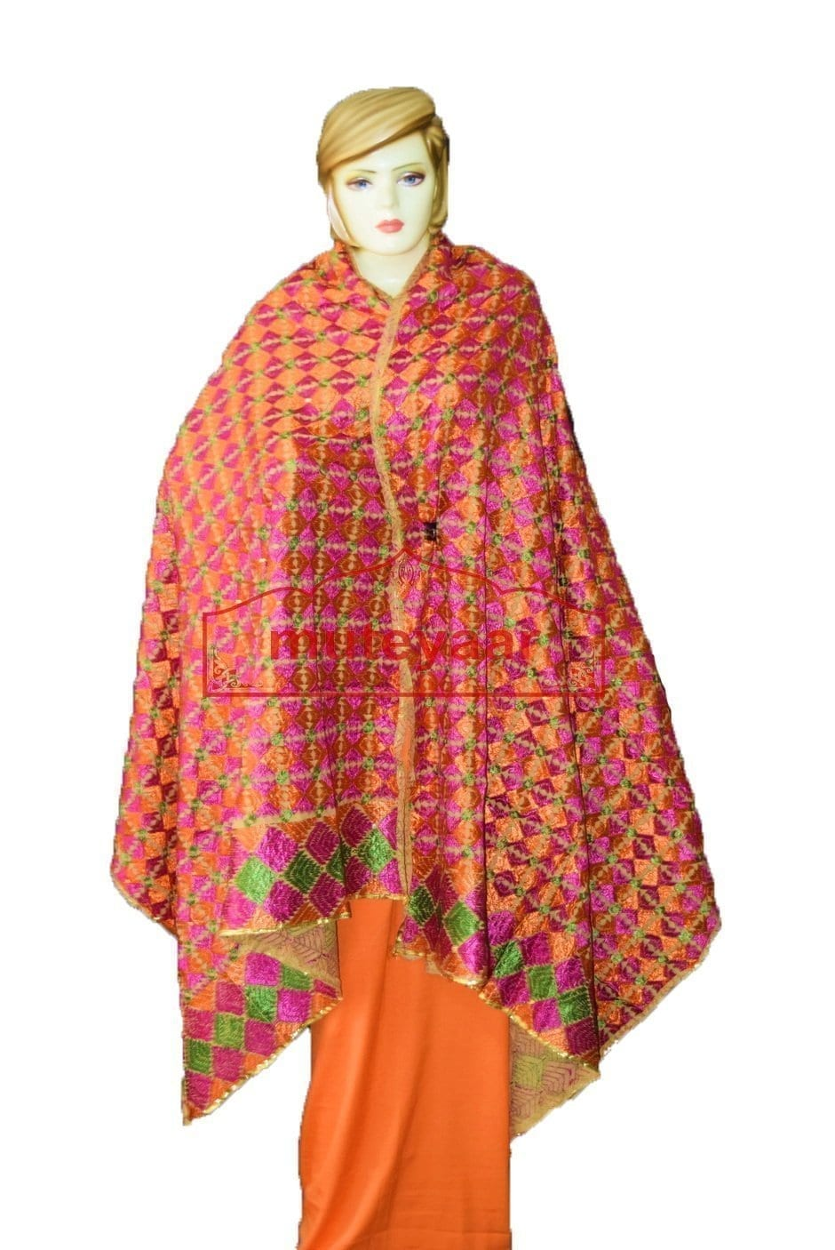 Phulkari Bagh Hand Embroidered Party Wear Cotton Dupatta D0919 1