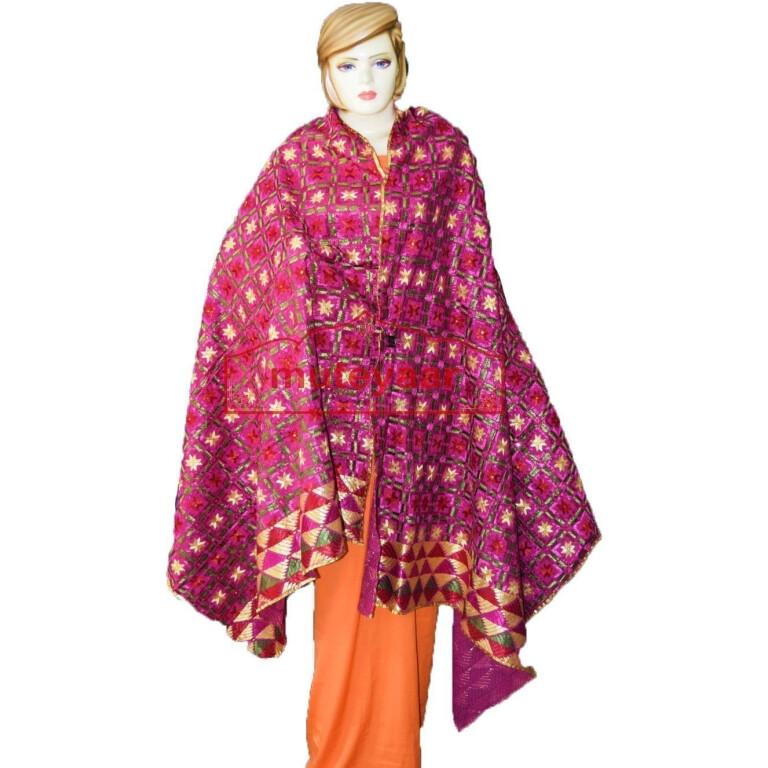 100% Hand Work Phulkari Dupatta Cotton Baagh D0920 Bagh Hand Embroidered Party Wear Cotton Dupatta D0920