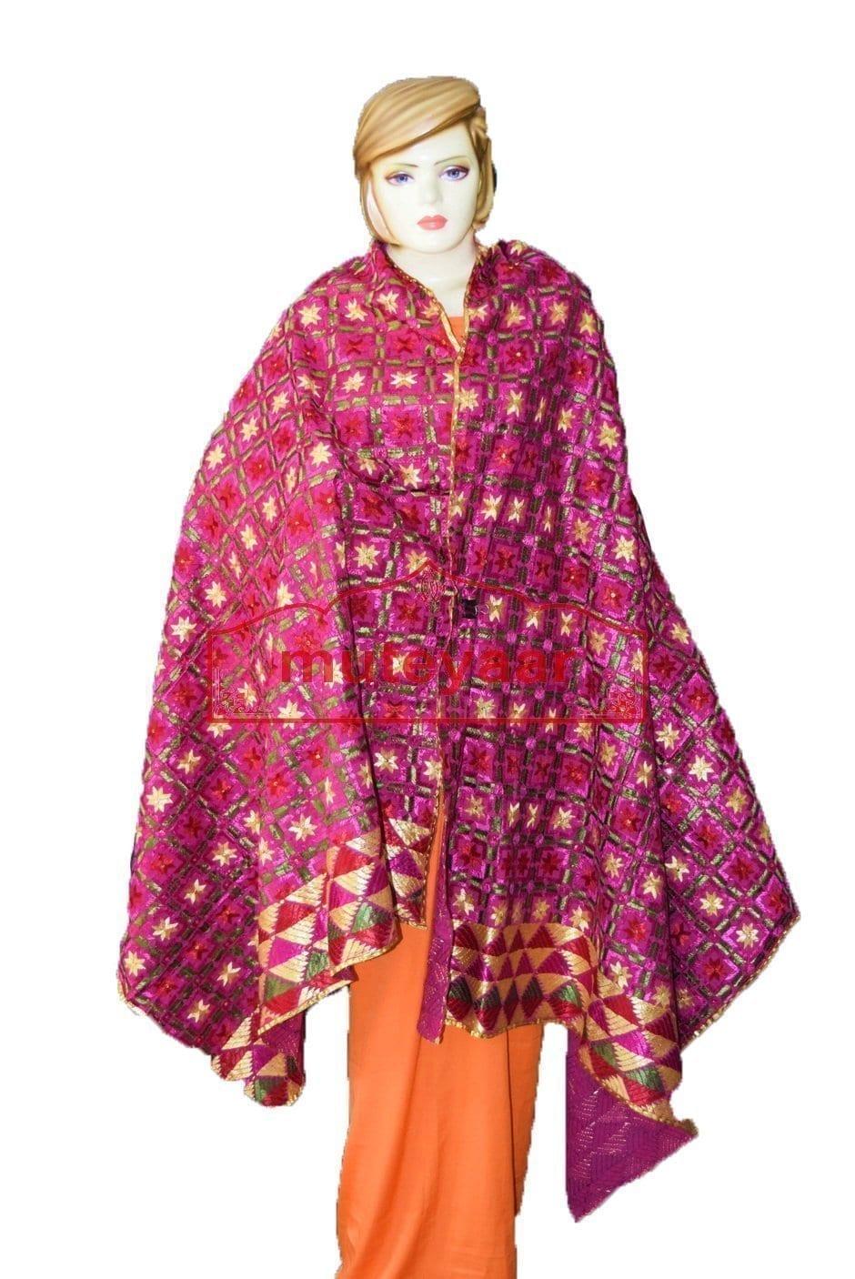 100% Hand Work Phulkari Dupatta Cotton Baagh D0920 2