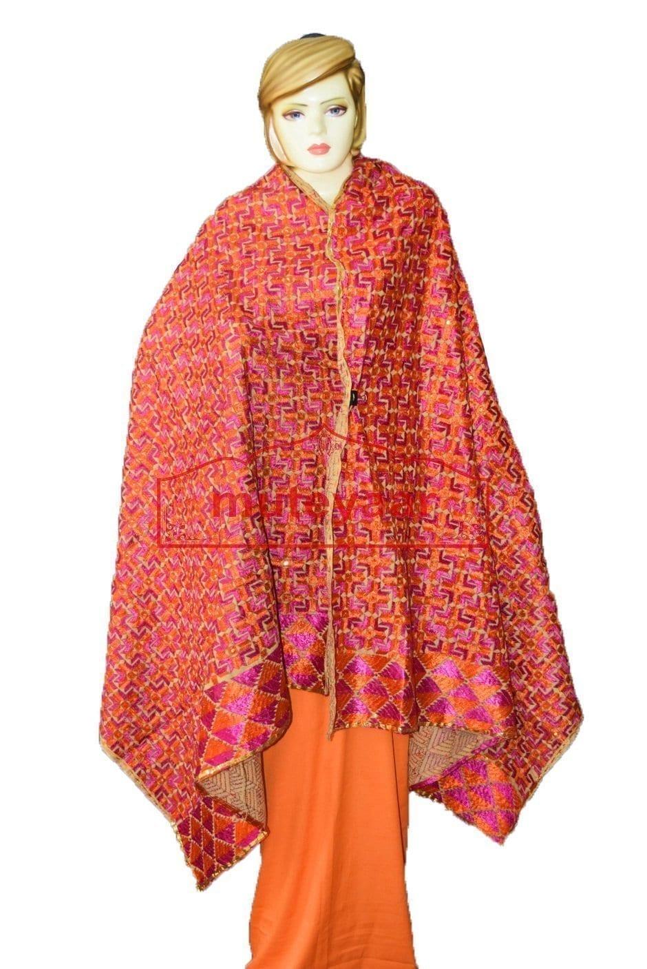 Phulkari Bagh Hand Embroidered Party Wear Cotton Dupatta D0921 1