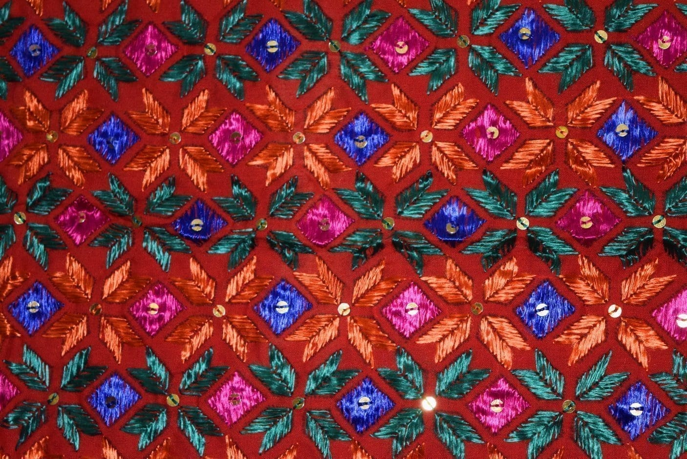 Phulkari Bagh Hand Embroidered Party Wear Cotton Dupatta D0923 3