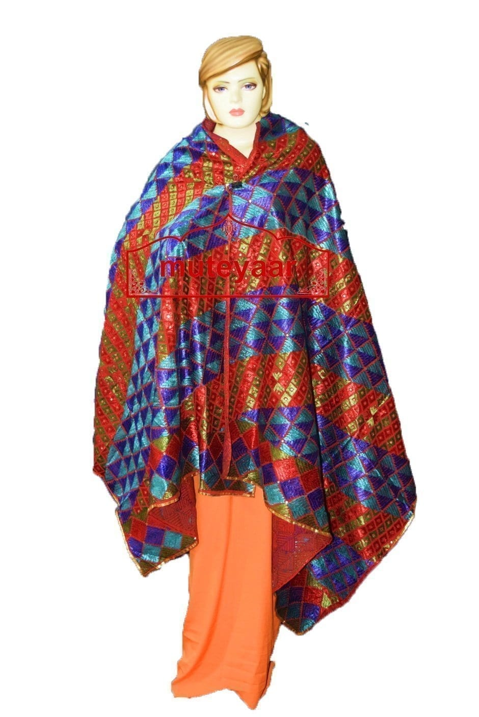 Phulkari Bagh Hand Embroidered Party Wear Cotton Dupatta D0924 1