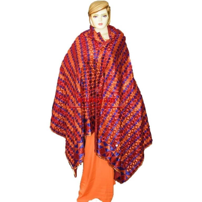 Phulkari Bagh Hand Embroidered Party Wear Cotton Dupatta D0925