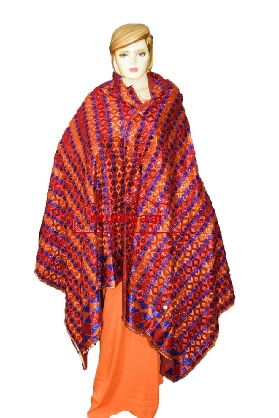 Phulkari Bagh Hand Embroidered Party Wear Cotton Dupatta D0925 1