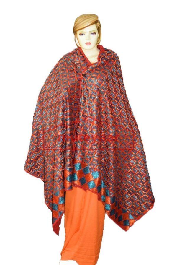 Phulkari Bagh Hand Embroidered Party Wear Cotton Dupatta D0927