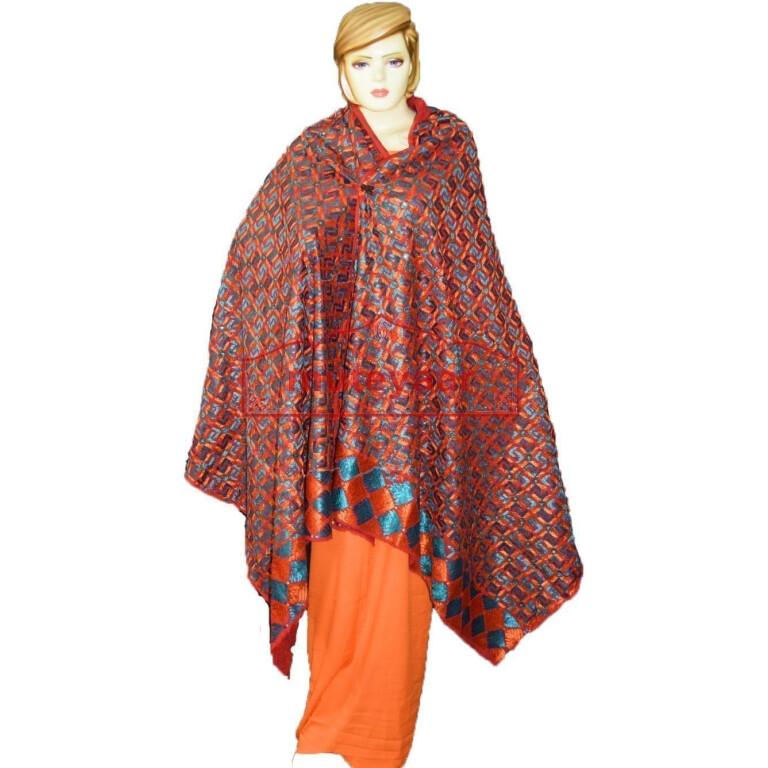 Hand Made Traditional Phulkari Bagh Dupatta D0927 Bagh Hand Embroidered Party Wear Cotton Dupatta D0927