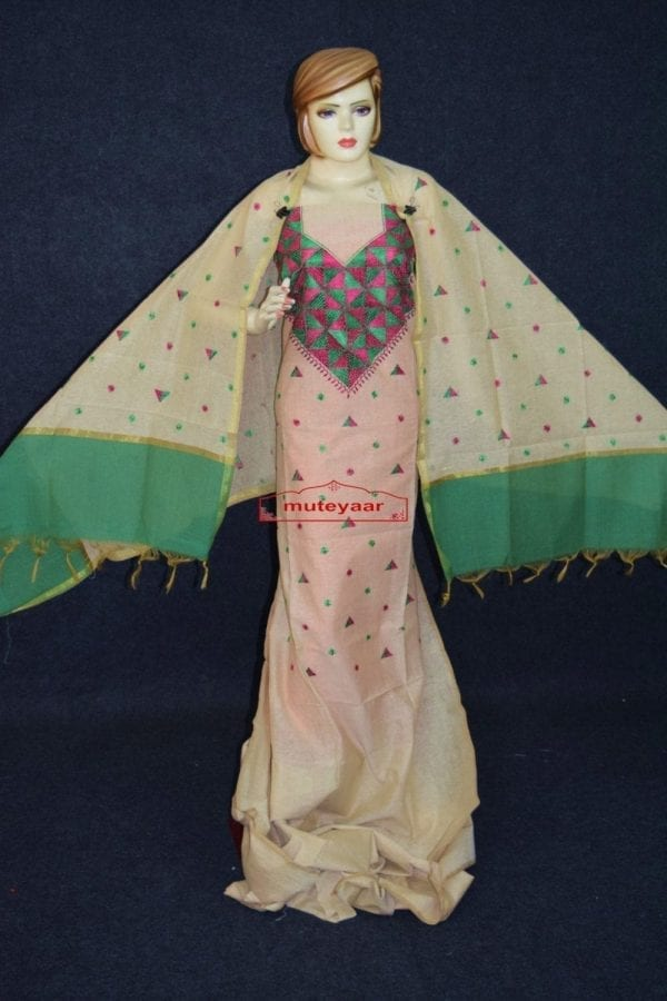 Golden Chanderi Cotton Silk Hand Embroidered Phulkari Suit Dupatta F0740