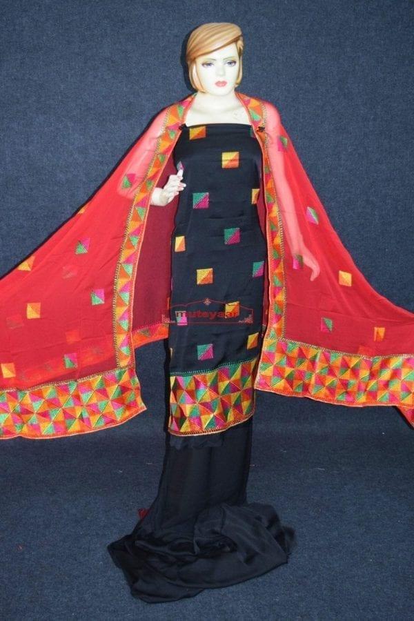 Black Butter Crepe M/C Phulkari Salwar Kameez Suit Chiffon Dupatta F0742