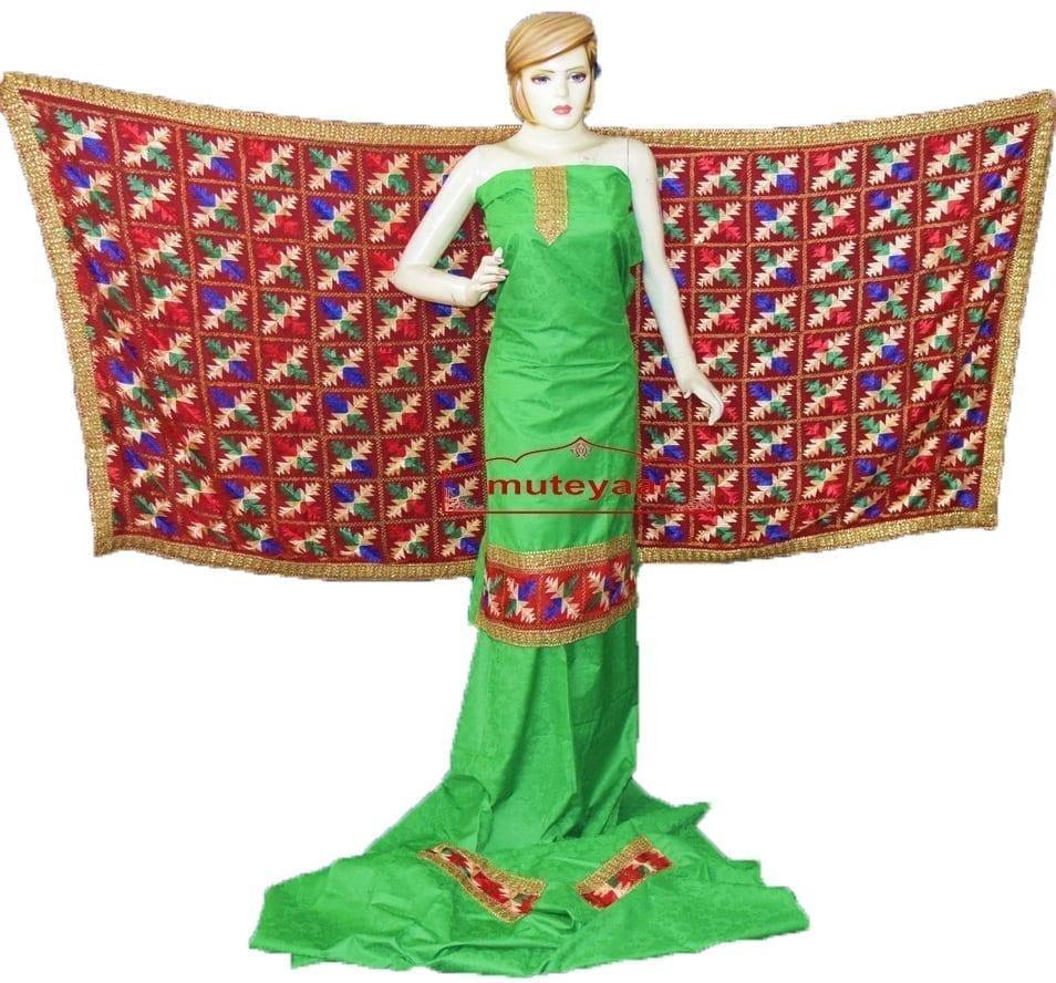 Green M/C Phulkari Salwar Kameez Suit Red Chiffon Dupatta F0743 1