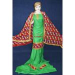 Green M/C Phulkari Salwar Kameez Suit Red Chiffon Dupatta F0743