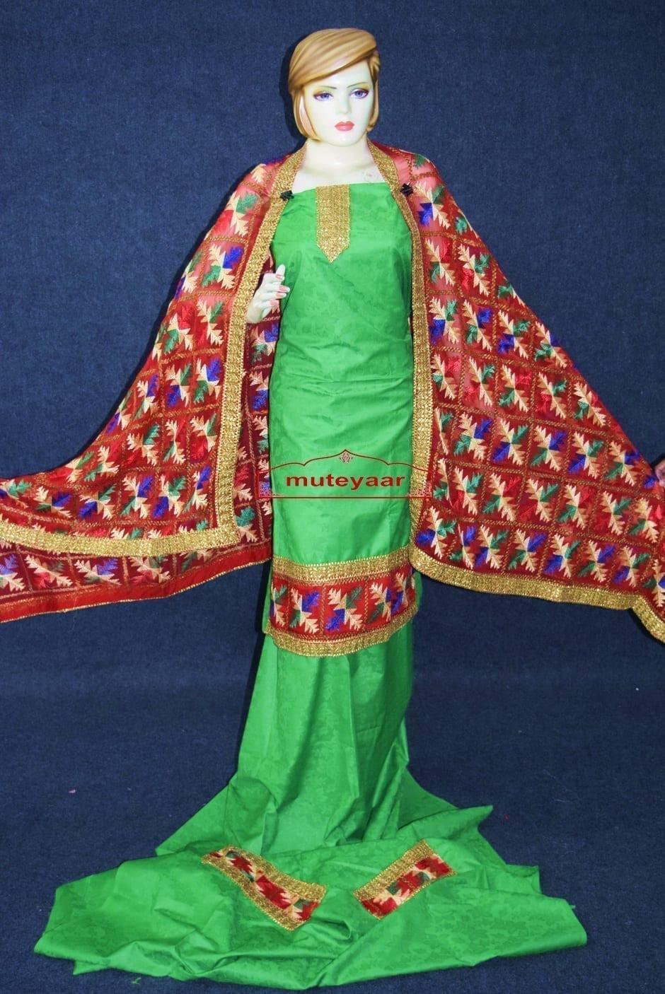 Green M/C Phulkari Salwar Kameez Suit Red Chiffon Dupatta F0743 2