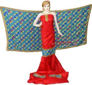 Red M/C Phulkari Salwar Kameez Suit Firozi Chiffon Dupatta F0744