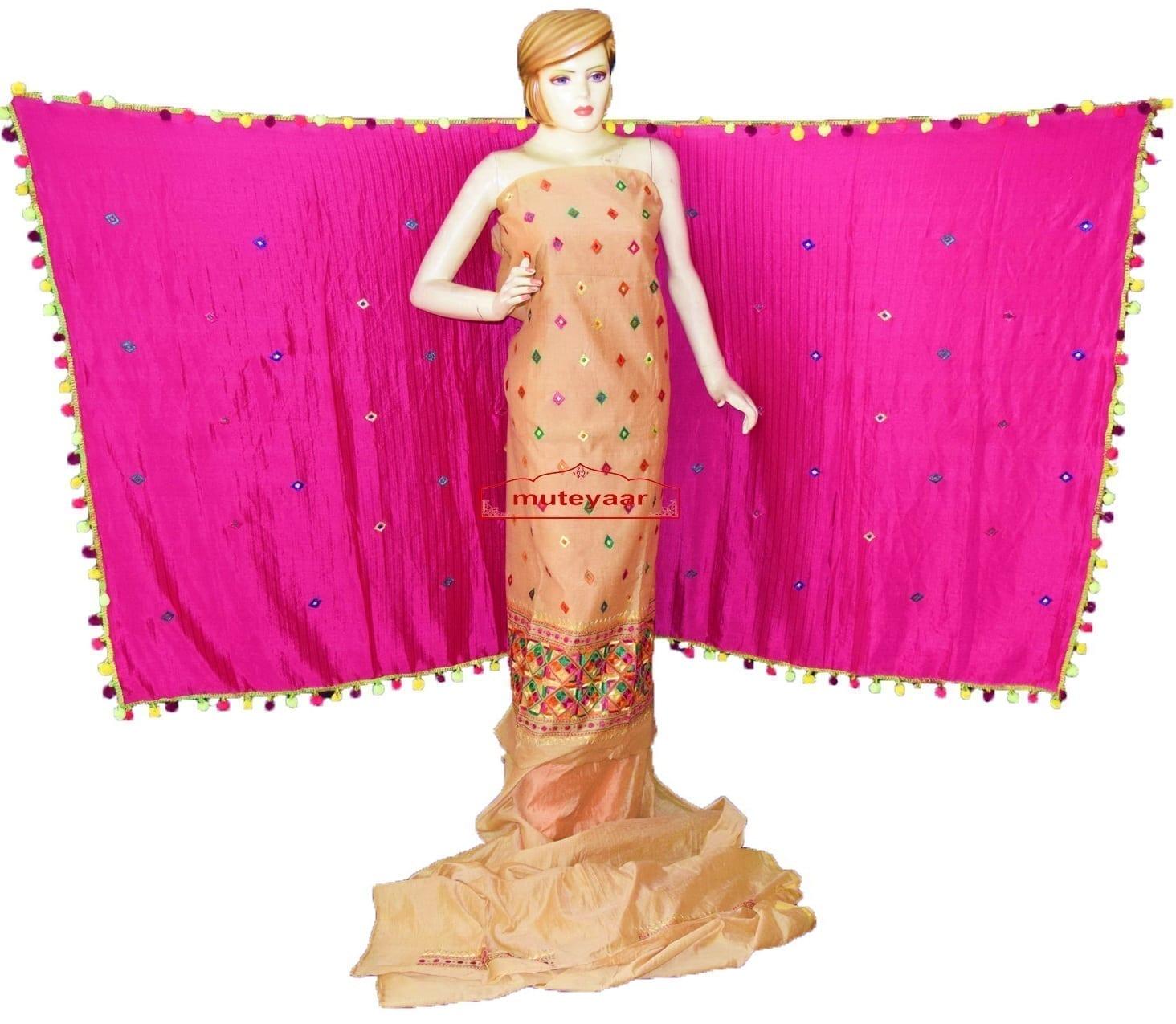 Golden Chanderi Cotton Silk Hand Embr Phulkari Suit Magenta Semi Chinon Dupatta F0749 1