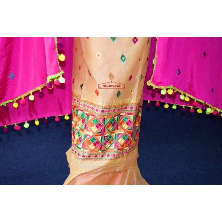 Golden Chanderi Cotton Silk Hand Embr Phulkari Suit Magenta Semi Chinon Dupatta F0749
