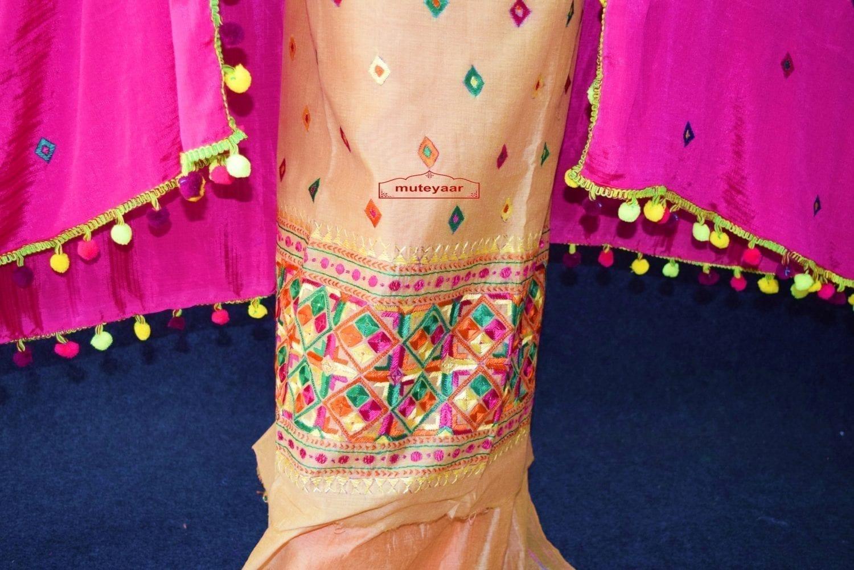 Golden Chanderi Cotton Silk Hand Embr Phulkari Suit Magenta Semi Chinon Dupatta F0749 2