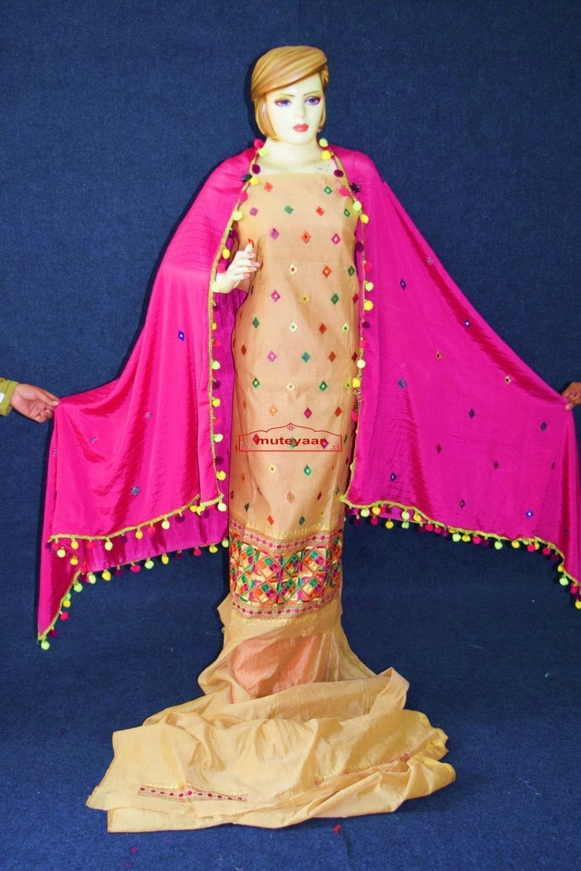 Golden Chanderi Cotton Silk Hand Embr Phulkari Suit Magenta Semi Chinon Dupatta F0749 3