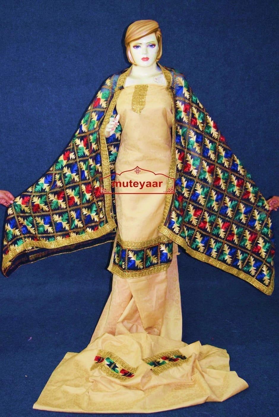 Golden M/C Phulkari Salwar Kameez Suit Black Chiffon Dupatta F0750 2