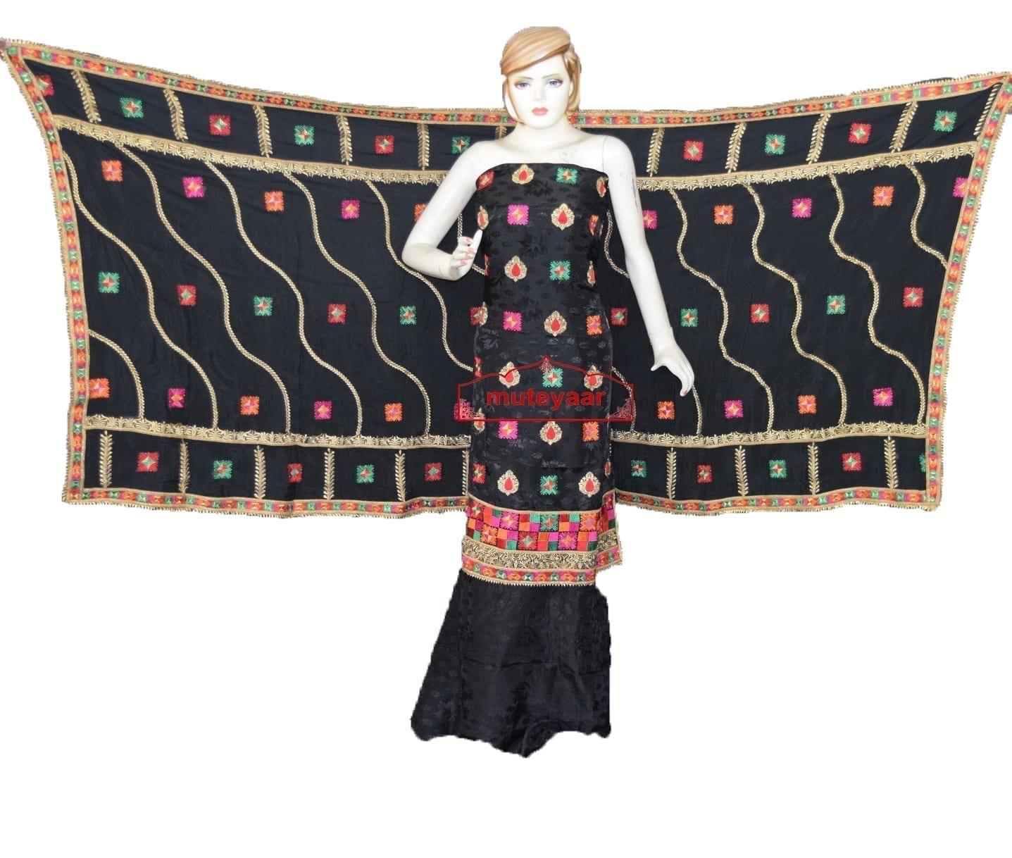 Black Party Wear Self Viscose Crepe Phulkari Salwar Suit Pure Chinon Dupatta F0760 1