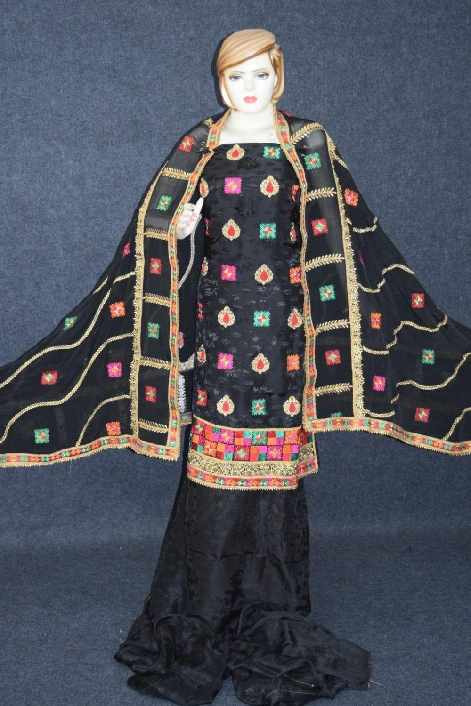 Black Party Wear Self Viscose Crepe Phulkari Salwar Suit Pure Chinon Dupatta F0760 2
