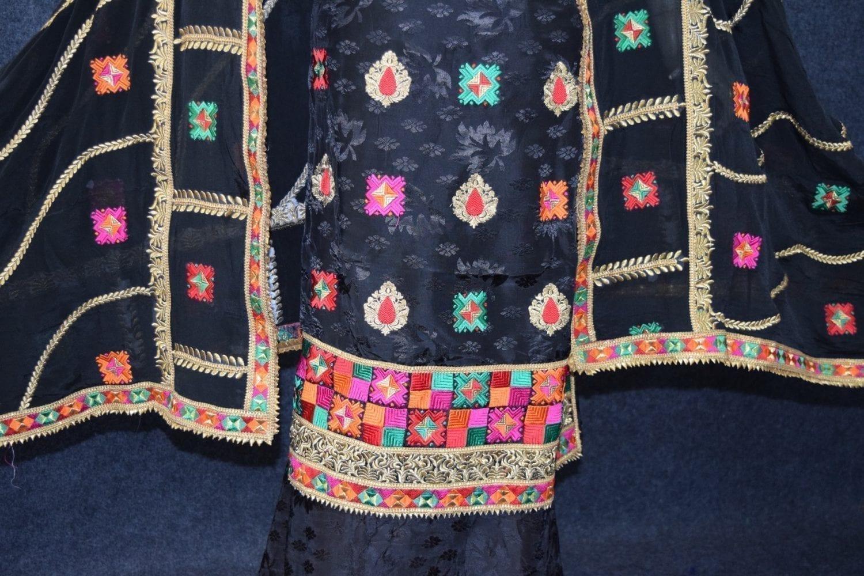 Black Party Wear Self Viscose Crepe Phulkari Salwar Suit Pure Chinon Dupatta F0760 3