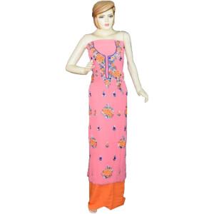 Pink Georgette Long Kurti K0390