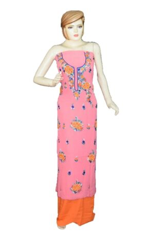 Pink GEORGETTE LONG Kurti Hand Embroidered Party Wear Unstitched Fabric K0390