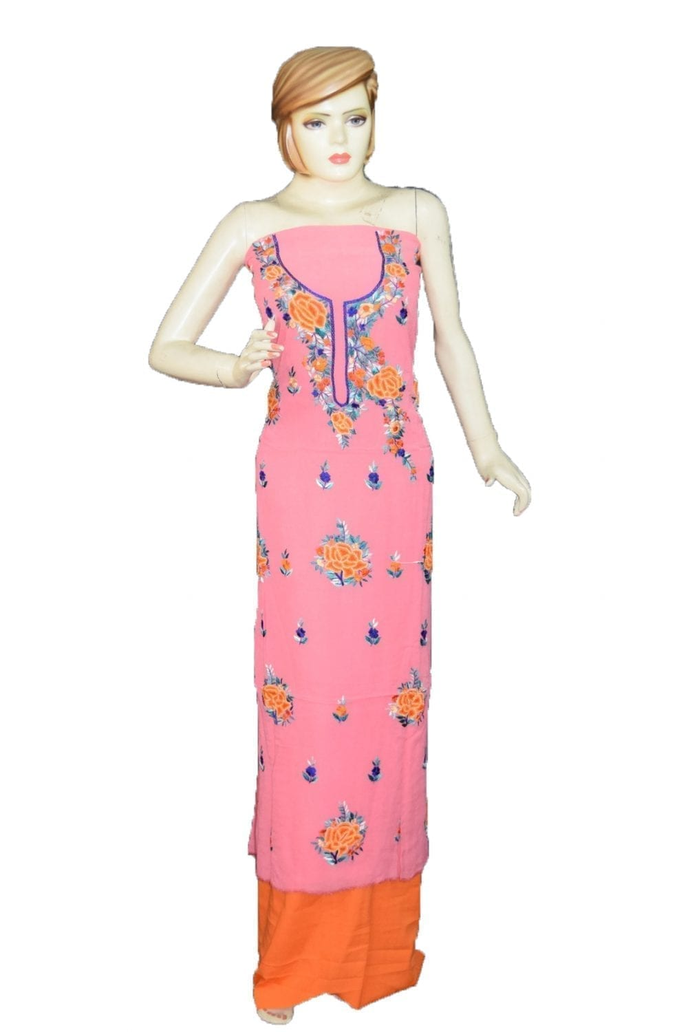 Pink GEORGETTE LONG Kurti Hand Embroidered Party Wear Unstitched Fabric K0390 1