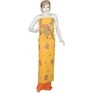 Yellow Georgette Embroidered Kurti K0391