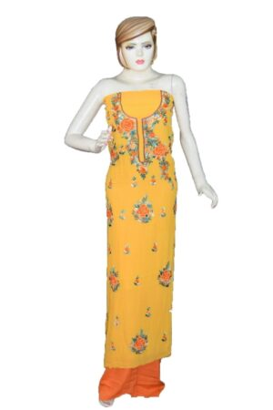 Yellow GEORGETTE LONG Kurti Hand Embroidered Party Wear Unstitched Fabric K0391