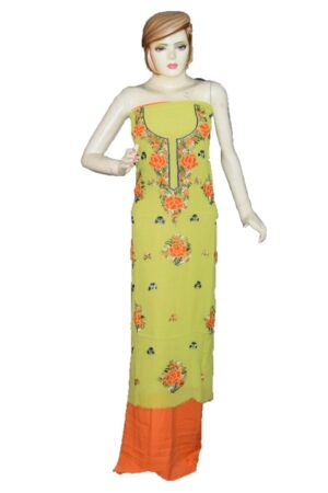 Light Green GEORGETTE LONG Kurti Hand Embroidered Party Wear Unstitched Fabric K0393