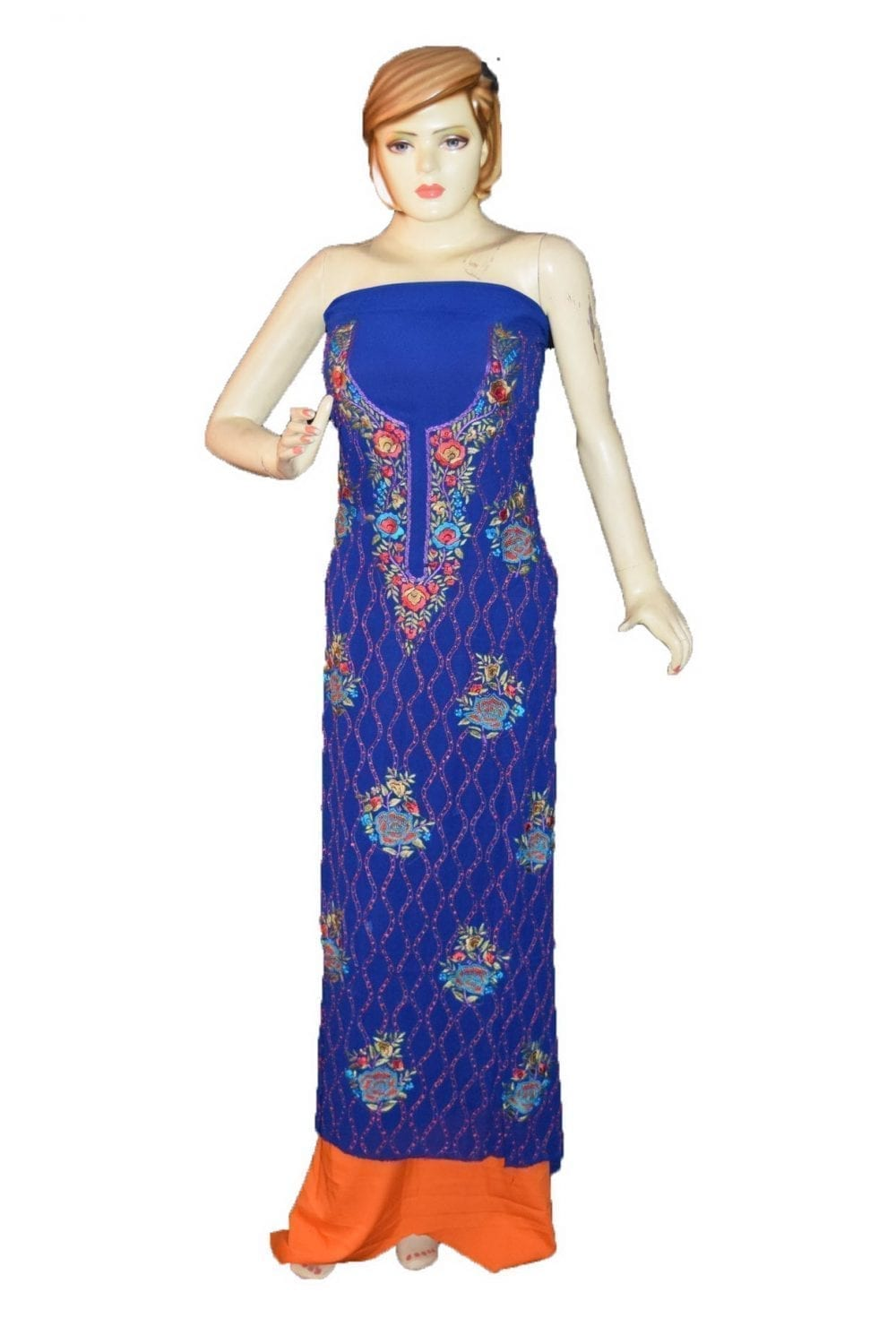 Royal Blue GEORGETTE LONG Kurti Hand Embroidered Party Wear Unstitched Fabric K0394 1