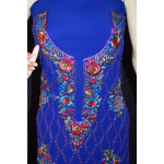 Royal Blue Georgette Embroidered Kurti K0394