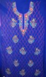 Royal Blue GEORGETTE LONG Kurti Hand Embroidered Party Wear Unstitched Fabric K0394