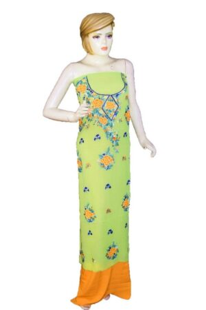 Lime Green GEORGETTE LONG Kurti Hand Embroidered Party Wear Unstitched Fabric K0395