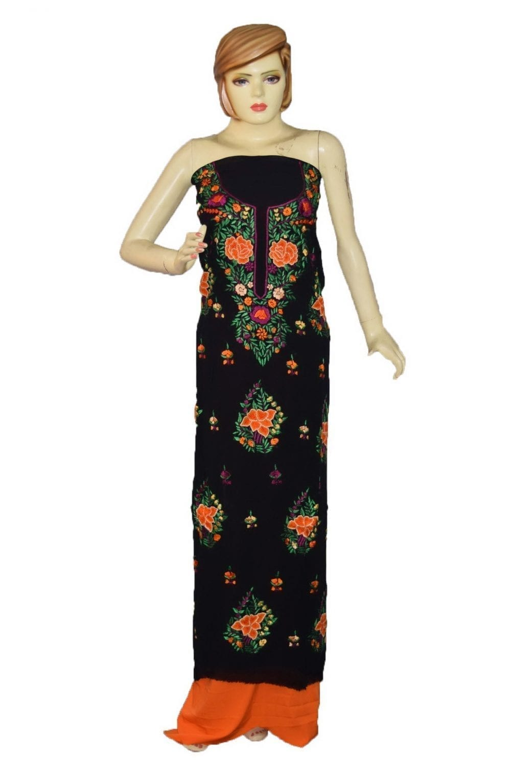 Black GEORGETTE LONG Kurti Hand Embroidered Party Wear Unstitched Fabric K0396 1