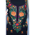 Black GEORGETTE LONG Kurti Hand Embroidered Party Wear Unstitched Fabric K0396