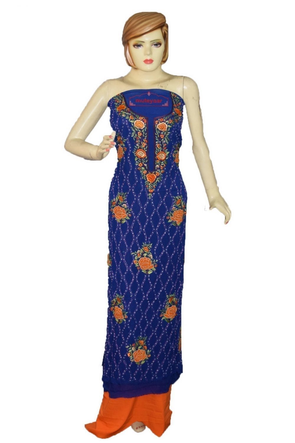 Vibrant Blue GEORGETTE LONG Kurti Hand Embroidered Party Wear Unstitched Fabric K0397 1